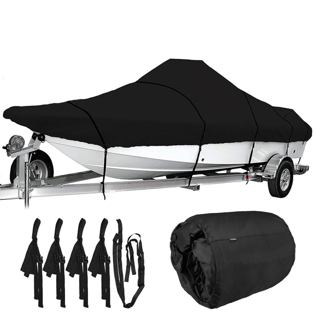 17-19ft / 19-21ft / 21ft-23ft / 23ft-25ft Waterproof Heavy Duty Boat Cover Marine Grade 210D Trailerable V-hull Fishing Ski Bass Runabouts Black