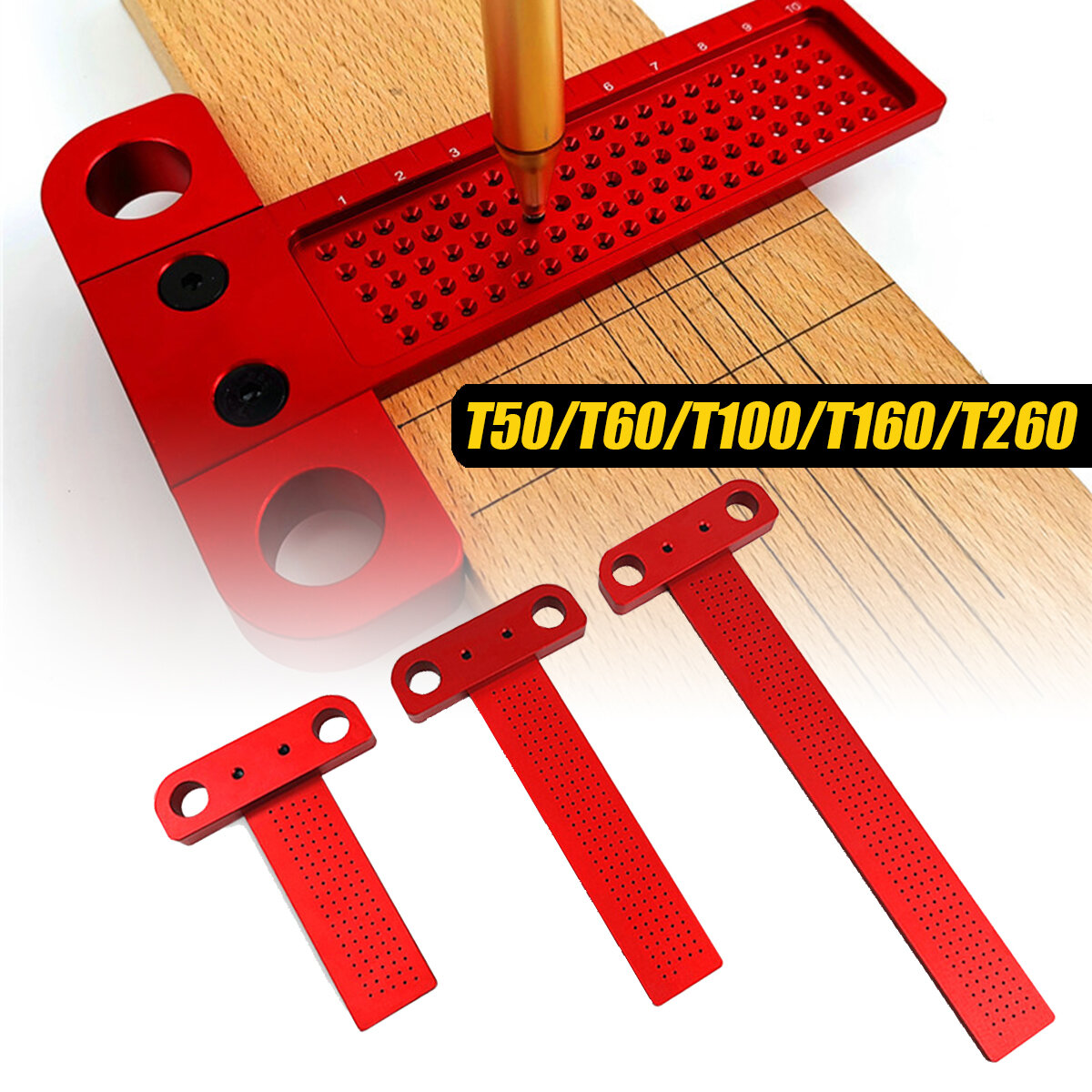 T50/T60/T100/T160/T260 T-type Ruler Hole Scribing Measuring Woodworking Marking Scriber