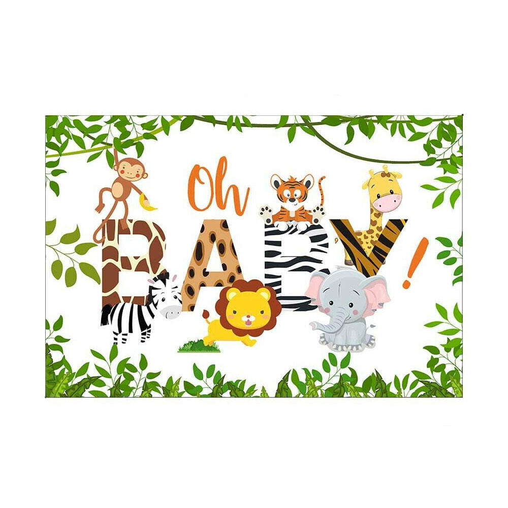 3x5FT 5x7FT Vinyl Oh Baby Elephant Monkey Giraffe Tiger Photography Backdrop Background Studio Prop