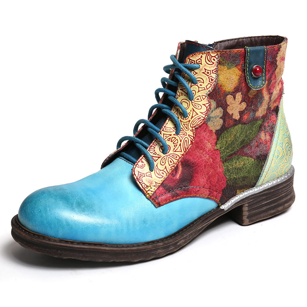 SOCOFY Watercolor Flower Genuine Leather Splicing Zipper Lace Up Ankle Boots
