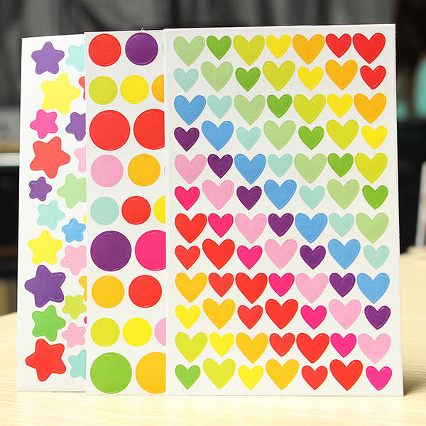 6枚のカラフルなレインボーステッカー日記プランナージャーナルアルバム写真