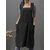 Women Sleeveless Side Pockets Cotton Loose Solid Color Vintage Apron Dress