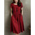 Women's Casual Solid Color Short Sleeved Cotton Dress