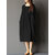 Women Long Sleeve Crew Neck Loose Casual Solid Pleated Dress