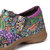 SOCOFY Women Genuine Leather Stitching Flower Pattern Slip On Spring Casual Flats Loafers