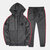 Mens Casual Hooded Elastic Waist Patchwork Long Sleeve Sweatshirt Suit