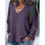 Womens Long Sleeve V Neck Knitted Sweater Casual Loose Tops Blouse