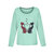 Cat Cartoon Print O-neck Casual Blouse