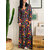 Women Casual V Neck Loose Floral Print Long Sleeve Dress