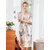 Silky Bridal Short Sleeve Oblique V-Neck Habenal Printed Kimino Robes Nightgown