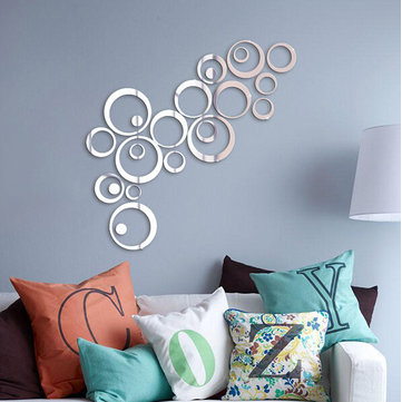 24PCS دائرة 3D DIY ديكور المنزل تلفزيون الجدار ملصق الديكور مرآة ملصقات الحائط