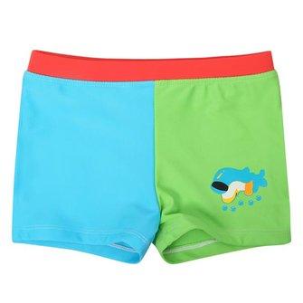 Baby-Jungen-Kinderdelfin-Cartoon-Art-blaue u. Grüne Badehose