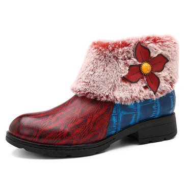 SOCOFY Vintage Stitching Button Lining Warm Snow Ankle Leather Boots