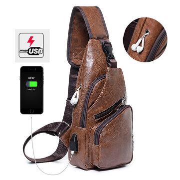 Erkekler Rahat Dayanıklı Su Geçirmez Anti Hırsızlık Göğüs Çanta USB Şarj Portu ile Seyahat Sırt Çantası