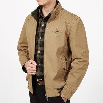 Mens Big Size Double Wear Stand kraag buiten katoen borduurwerk jas