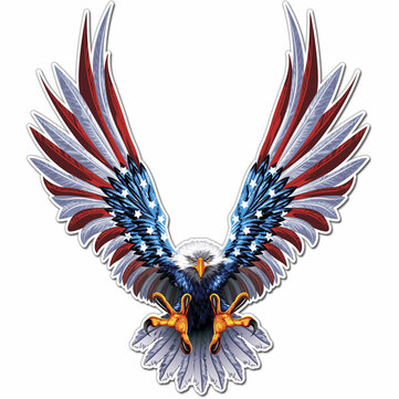 6x6.75 Inch Vinyl Car USA Eagle Wings Verenigde Staten Vlag Bumper Window Stickers Decal