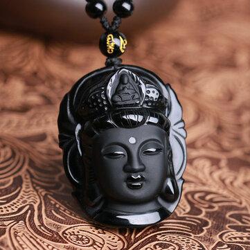Natural negro obsidiana Kwan-yin Colgante encanto collar de la joyería de la suerte colocación de ropa