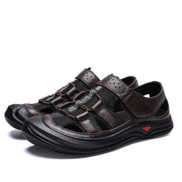 Men Retro Hook&Loop Hollow Out Breathable Cowhide Sandals