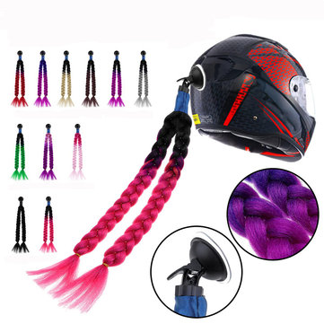 "24"" Motorcycle Bike Gradient Ramp Helmet Sucker Removable Braid Pigtail Ponytail Decoration"