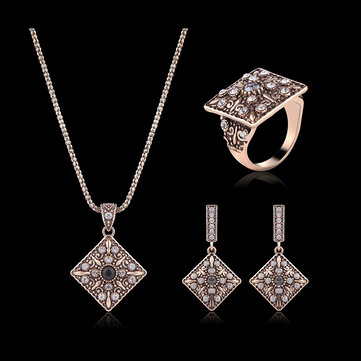 Turkey Series Crystal Necklace Diamond Ring Retro Earrings Gift Jewelry Set