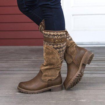 Large Size Whitetails Ladies Splicing Slip On Casual Mid Calf Boots