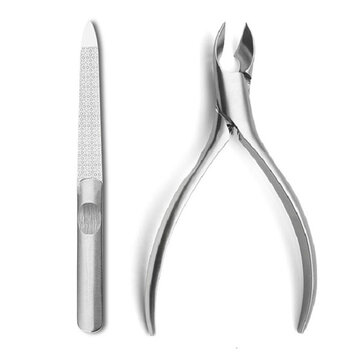 Y.F.M® 2Pcs Stainless Steel Ingrown Toenails Nipper Nail Clippers & Nail Files Cutter Thick Pedicure Tool