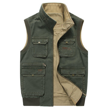 Mens Big Size L-5XL Casual Outdoor Cotton Double Sided Wear Multi Pockets Vest Sleeveless Jacket