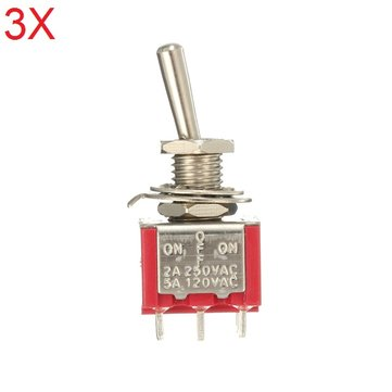 Interruttore a scorrimento rosso 3pcs DPDT On-Off-On 6 PIN 3 Posizione 5A 120Vac / 2A 250Vac