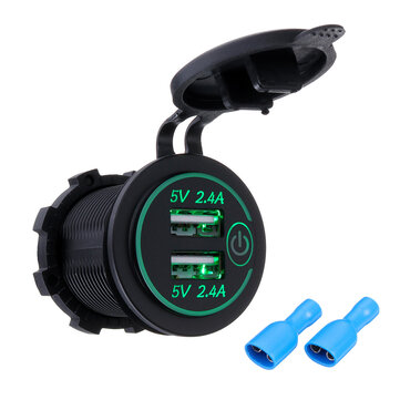 P18-S Touch Switch with Terminal 2.4A+2.4A Dual USB Car Motorized Modified Charger Mobile Phone 12-24V