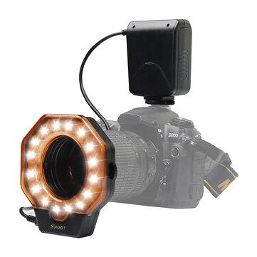 SHOOT SL-103C Macro Ring Flash Light LED GN15 6800K Diâmetro 52 55 58 62 67 72 77mm Anel Adaptador