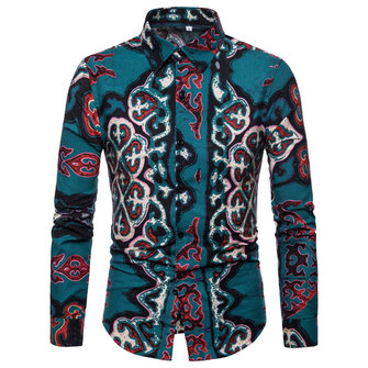 Ethnic Style Men's Casual National Printed Color Long Sleeve Lapel Collar Shirts