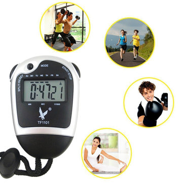 Portable Hand-held Single Row 2 Memories LCD Digital Stopwatch with Time Date Alarm Function