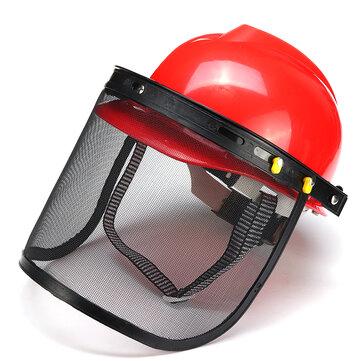 Roter Schutzhelm Vollmaske Kettensäge Brushcutte Mesh für Rasenmäher Trimmer Freischneider