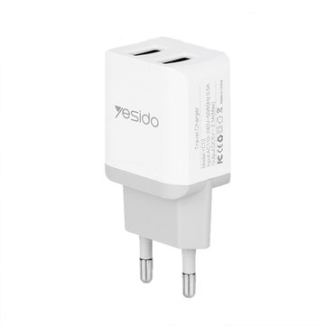 Yesido Mini Portable EU 2.1A Dual USB Fast Travel Charger with Micro USB Cable for Xiaomi Huawei