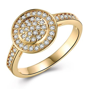 INALIS Copper Gold Plated Women Rings Zircon Engagement Wedding Ring Jewelry Gift