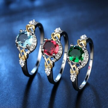 Fashion Finger Ring Double Heart Colorful Micro Zircon Rings Jewelry Hand Accessories for Women