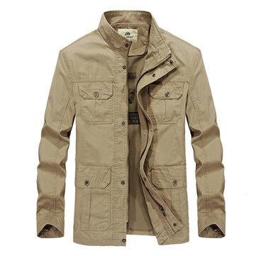 Męskie Wiosna Jesień Multi Kieszenie Cotton Outdoor Casual Jacket