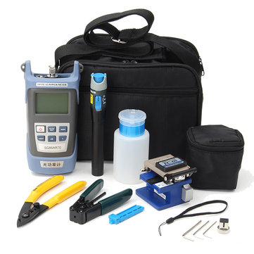 FC-6S Fiber Optic FTTH Tools Kit and Fiber Cleaver Optical Power Meter3-5KM Visual Finder Locator Wire stripper