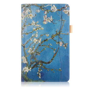 Folio Stand Printing Tablet Case Cover for Samsung Galaxy Tab A 10.5 T590 T595 T597 Tablet - Apricot Blossom