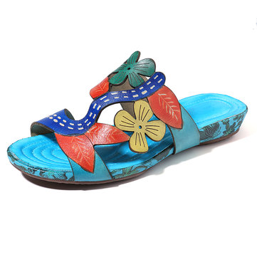 SOCOFY Handmade Pattern Slip On Casual Genuine Leather Sandals