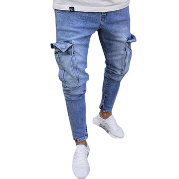 Mens Cotton Multi Pockets Casual zerrissene Jeans Denim-Hosen