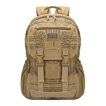 Retro Printing Men Canvas Leisure Printing 14inch Laptop Backpack Outdoor Travel Hiking Capicity Bag