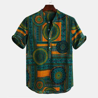 Heren etnische stijl bedrukt katoen ademend zomer Henley Shirts T-shirts
