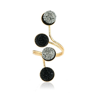 Trendy Zinc Alloy Black Statement Shiny Stone Ball Knuckle Ring Gift for Women