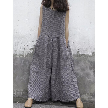 Women Sleeveless Plaid O-neck Overalls Wide Leg Jumpsuit