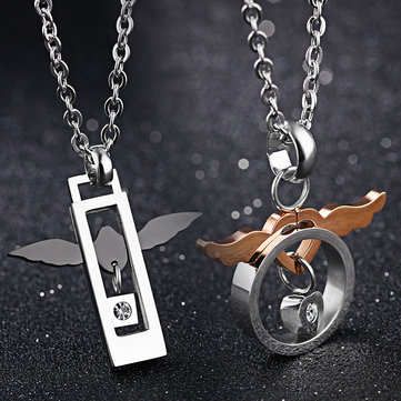 2Pcs Trendy Stainless Steel Love of Angel Couple Necklace Gift for Men Women