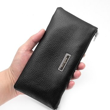 Men Soft Genuine Leather Wallet Phone Bag Multi Card Holder