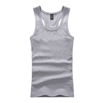 Mens Solid Color Round Neck Vest Casual Sport Summer Cotton Slim Fit Tanks Top