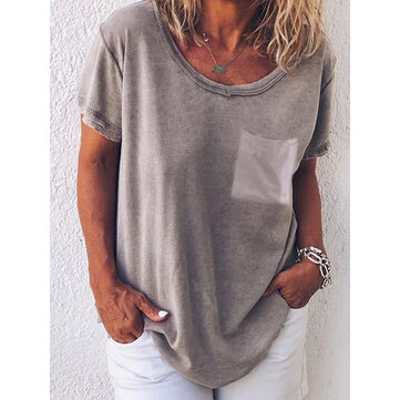 Pure Color O-neck Short Sleeve Casual T-shirts