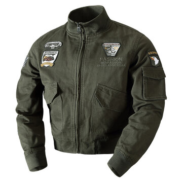 Mens Embroidery Outdoor Military Epaulet Stand Color Autumn Jacket